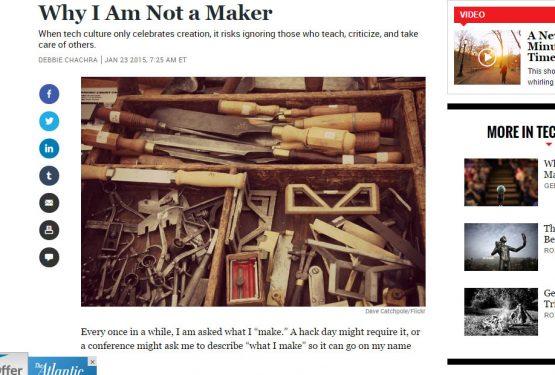 {PRESS} Why I am not a Maker