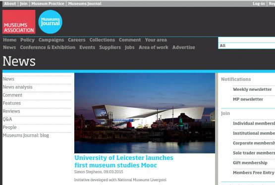 {PRESS} First Museum MOOC by Uni of Leicester